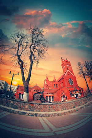 helen: Belarussian Roman Catholic Church Of Saints Simon And Helen (Red Church) On Independence Square In Minsk, Belarus