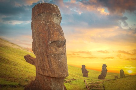 easter island: Moais at Ahu Tongariki (Easter island, Chile)