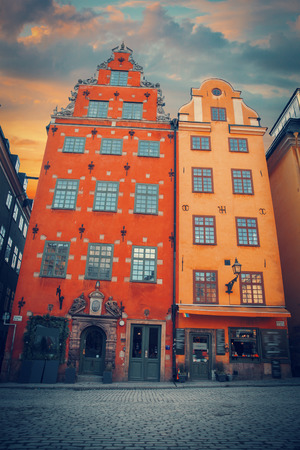 Stockholm. Old city. narrow streets and trees Editorial