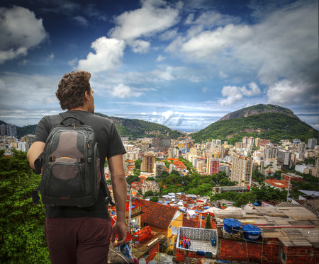 tourist man traveling through Rio de Janeiro. Brazil