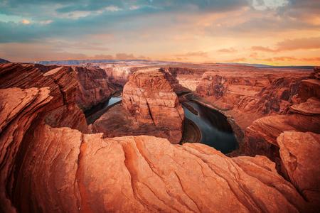 colorado river: Famous Horseshoe Bend of the Colorado River in northern Arizona