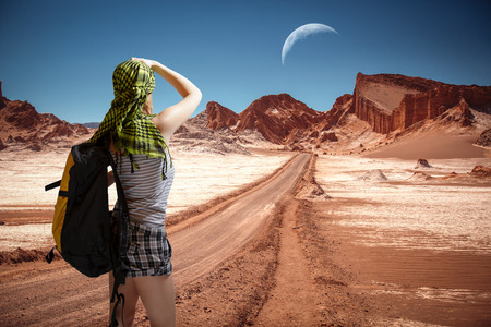 moon  desert: Tourist in the Valley of the Moon - Atacama Desert - Chile