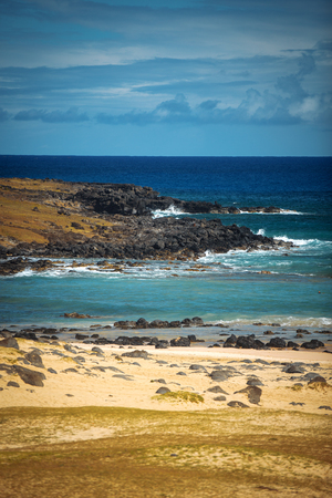 rapa nui: Anakena, a white coral sand beach situated on the northern tip of Rapa Nui (Easter Island).