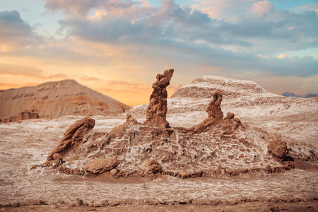 moon  desert: Salt sculptures is beautiful geological formation of Moon Valley in Atacama Desert - Chile, Latin America