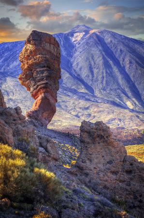 echium: Echium wildpretii .Famous Finger Of God rock in Teide national park. Tenerife island - Canary, Spain