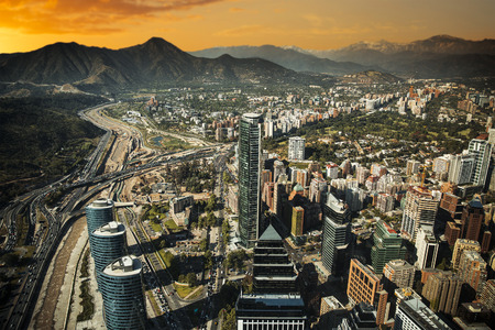 andes mountain: View of Santiago de Chile with Los Andes mountain range in the back Stock Photo