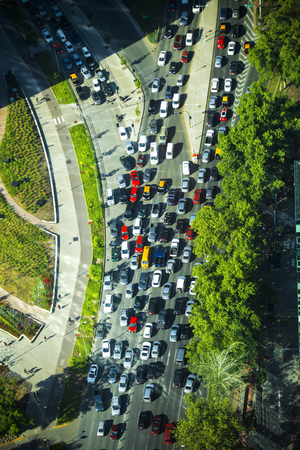 forked: Urban transportation - rush hour traffic on a city roads.