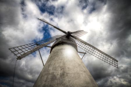 restored: Restored Dutch windmill located in Seidla, Estonia Stock Photo