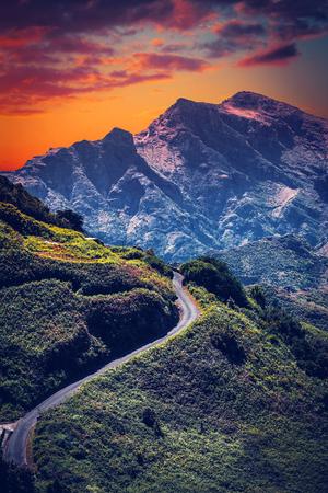 Mountain landscape on tropical island Tenerife, Canary in Spain. Beautiful scene on main road on El Teide volcano.