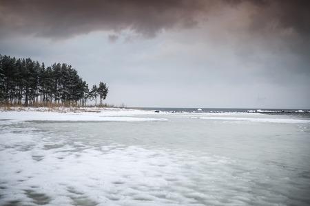 Winter sea. cold dark day in Northern Europe Stock Photo