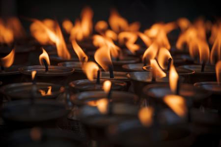 divali: Candles in Swayambhunath temple in Kathmandu, Nepal