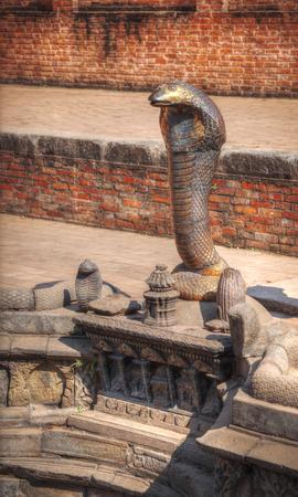 sacred source: snake pit. hindu mythology in the water reservoirs in Bhaktapur Durbar square , Kathmandu, Nepal,Asia