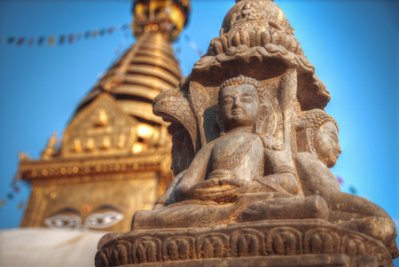 Swayambhunath Stupa stands on the hill in Kathmandu, Nepal Stock Photo