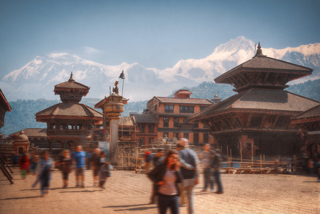 Tempels van Durbar Square in Bhaktapur, Kathmandu valey, Nepal.