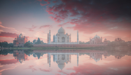 Taj Mahal . white marble mausoleum on the south bank of the Yamuna river in the Indian city of Agra, Uttar Pradesh.