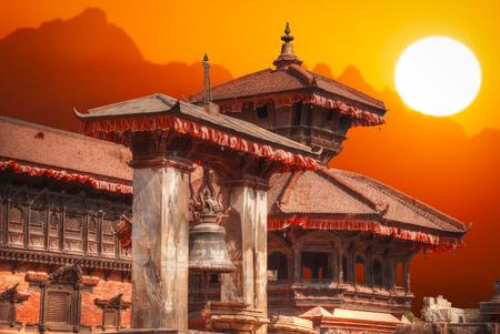 Tempels van Durbar Square in Bhaktapur, Kathmandu Valey, Nepal. Stockfoto