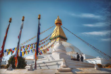 monastic: Evening view of Bodhnath stupa .  Kathmandu .  Nepal