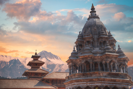 Temples of Durbar Square in Bhaktapur, Kathmandu valey, Nepal. Stock Photo