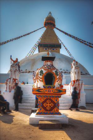 nepali: Evening view of Bodhnath stupa .  Kathmandu .  Nepal