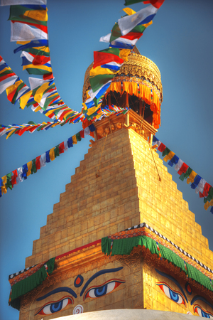 Evening view of Bodhnath stupa .  Kathmandu .  Nepal