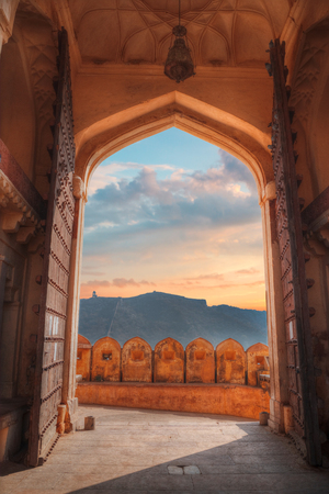 eponymous: Amber Fort or Amer - fortified residence of Raja in the eponymous northern suburbs of Jaipur, on the crest of a rocky hill behind the lake Maota
