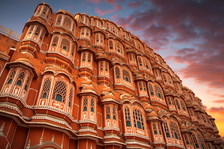 Hawa Mahal - a five-tier harem wing of the palace complex of the Maharaja of Jaipur, built of pink sandstone in the form of the crown of Krishna