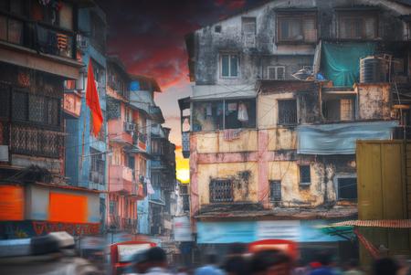 slums: Mumbai, formerly Bombay - a city in the west of India, on the Arabian Sea coast. Maharashtra Civic Centre. slum Stock Photo