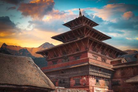 Temples of Durbar Square in Bhaktapur, Kathmandu valey, Nepal. Stock Photo