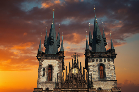 Prague Old town square, Tyn Cathedral. under sunlight. Stock Photo