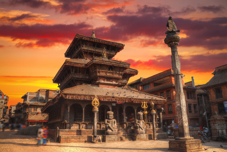 Temples of Durbar Square in Bhaktapur, Kathmandu valey, Nepal. 版權商用圖片