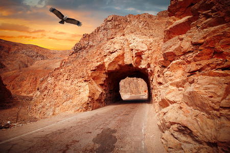 drive through: way through the cave in the mountain. The Andes, the Atacama, Peru. eagle flies in the sky.