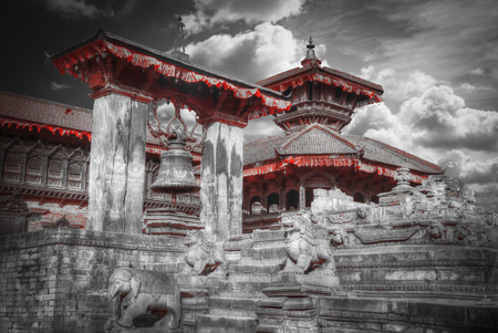 closed community: Temples of Durbar Square in Bhaktapur, Kathmandu valey, Nepal. black and white photography