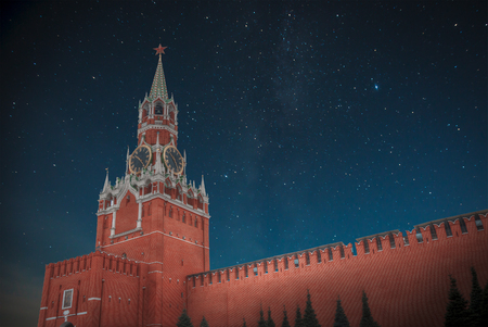 spasskaya: Kremlin - a fortress in the center of Moscow, the main socio-political, historical and artistic complex of the city. At night the stars shine