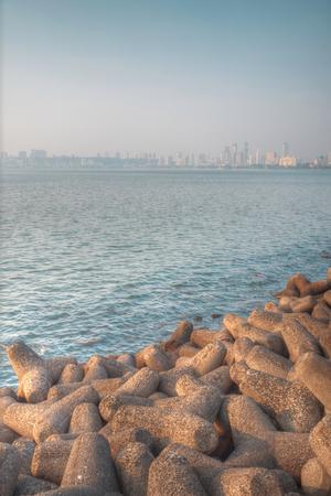 Marine Drive - quay Mumbai (Bombay). It has a crescent shape. India Stock Photo