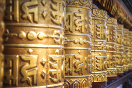 Prayer drum. Cylinder or roller on the axis, containing mantras. Nepal
