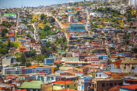 Colorful buildings on the hills Stock Photo