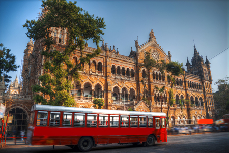 Chhatrapati Shivaji, the former Victoria Terminus - a historical railway station in the Indian city of Mumbai, one of the busiest in India. Stok Fotoğraf