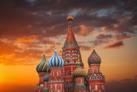 St. Basils Cathedral - an Orthodox church on Red Square in Moscow, a well-known monument of Russian architecture. Stock Photo