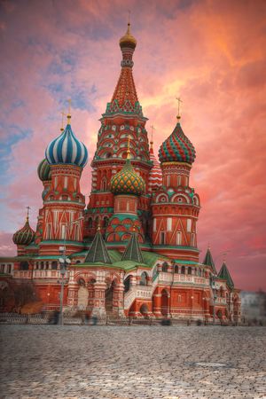 St. Basils Cathedral - an Orthodox church on Red Square in Moscow, a well-known monument of Russian architecture. Editorial
