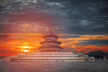 Temple of Heaven is a temple and monastery complex in central Beijing Stock Photo