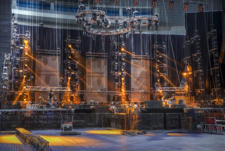 Technical preparation for the big concert indoors. Backstage