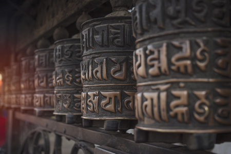 Kathmandu in Buddhist temples are prayer drums