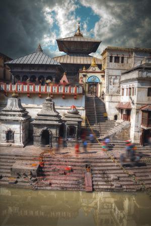 Pashupatinath temple complex of Hinduism, located on the Bagmati River, Kathmandu, Nepal. Stock Photo - 83640893