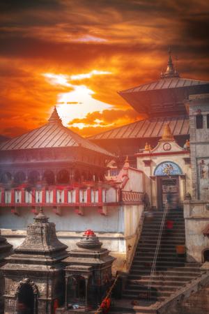 Pashupatinath temple complex of Hinduism, located on the Bagmati River, Kathmandu, Nepal. Stock Photo - 83640894