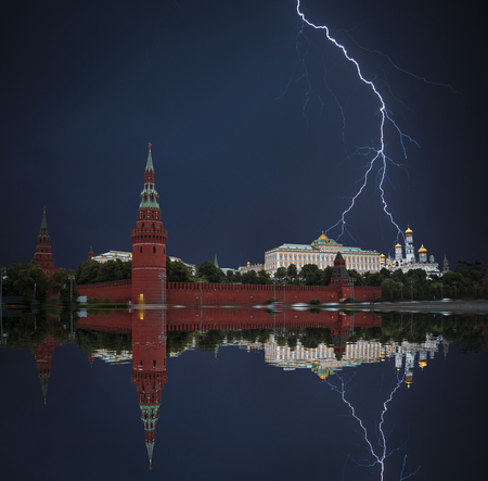 Red square is the main symbol of Russia. Powerful lightning strike. Stock Photo