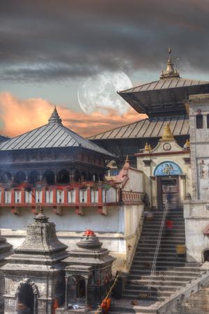 Pashupatinath temple complex of Hinduism, located on the Bagmati River, Kathmandu, Nepal.