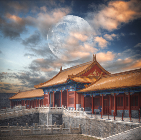 Forbidden City is the largest palace complex in the world. Located in the heart of Beijing. A huge moon in the sky