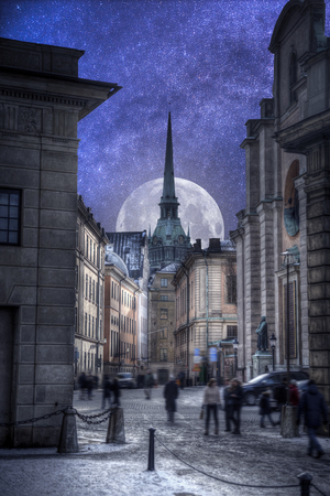 Astrophotography. Night sky with stars. Stockholm is the capital and largest city in Sweden