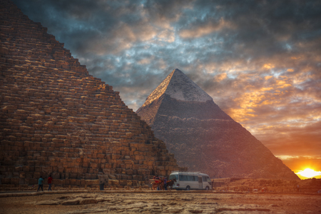 Egyptian pyramids - ancient stone structures near Cairo Editorial
