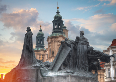 Monument to Jan Hus is located in the Old Town Square of Prague.